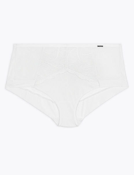Swiss Embroidered High Rise Shorts