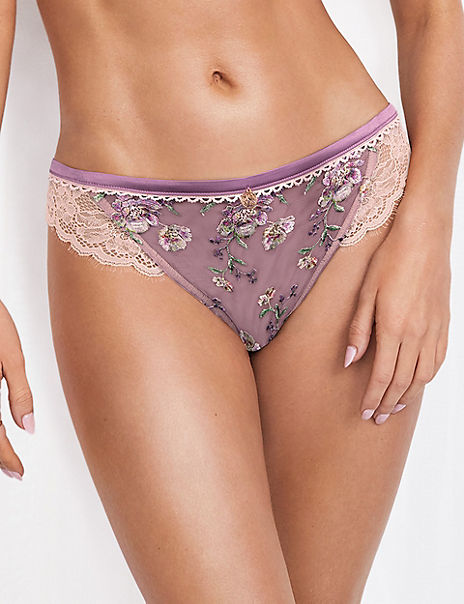 Floral Embroidered Tanga Brazilian Knickers