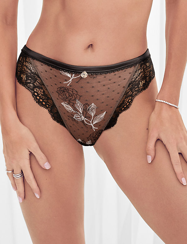 Placement Embroidery High Leg Knickers
