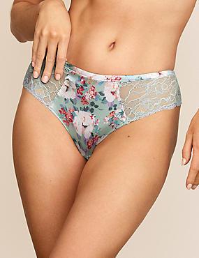 Silk & Lace Floral Brazilian Knickers