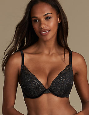 Sparkle Lace Padded Push-up Plunge Bra A-E