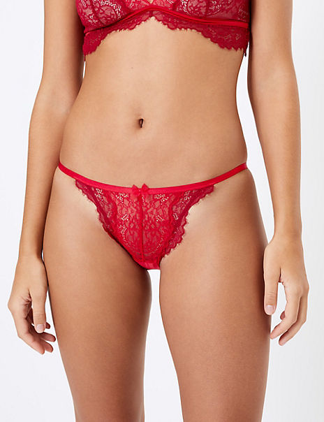 Layered Lace Side Strap Bikini Knickers