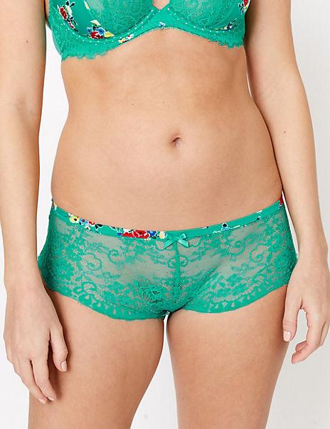 Flirty Satin & Lace Floral Shorts
