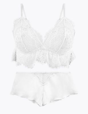 Broderie & Lace Bralette & Knickers Set