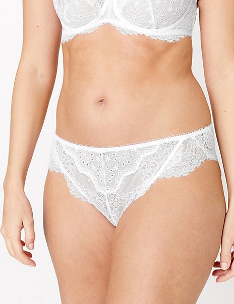 Broderie & Lace High Leg Knickers