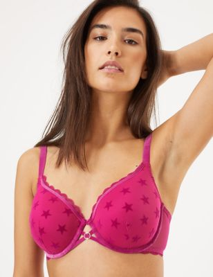 Star Flock Padded Underwired Full Cup Bra