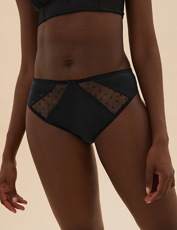 Spot Embroidery High Leg Knickers