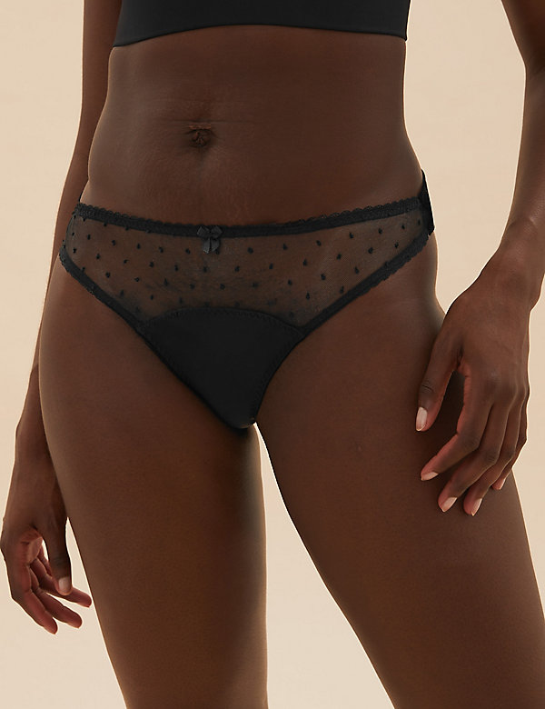 Spot Embroidery Bow Thong