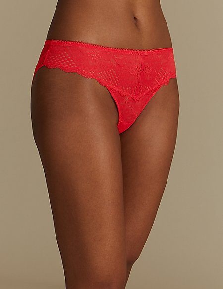 2 Pack Textured Lace Brazilian Knickers