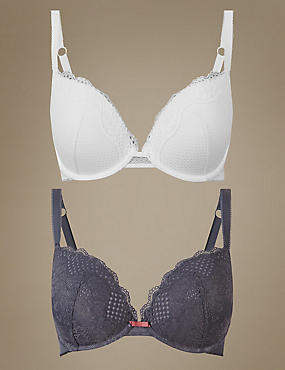 2 Pack Lace Padded Push-up Plunge Bras A-DD