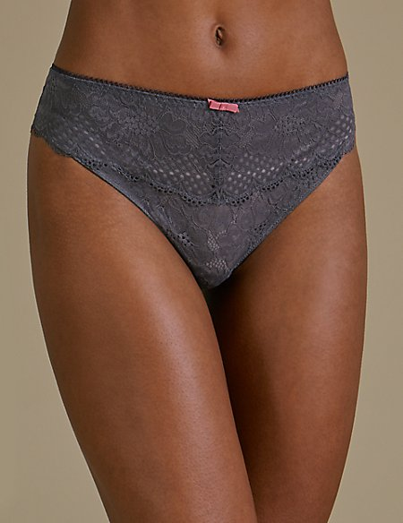 2 Pack Textured & Lace High Leg Knickers