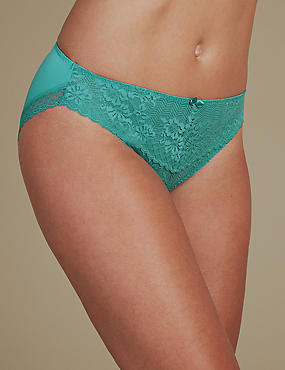2 Pack Floral Lace Embroidered High Leg Knickers