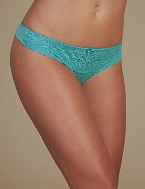 2 Pack Floral Lace Embroidered Thong