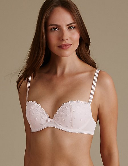 2 Pack Embroidered Padded Push-Up Bra A-E