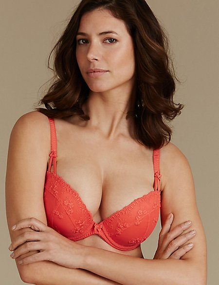 2 Pack Embroidered Padded Plunge Bras DD-G