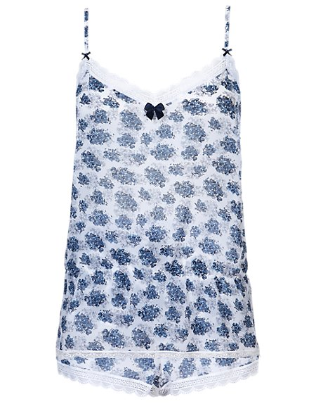 Floral Print Chiffon Camisole & Shorts Set