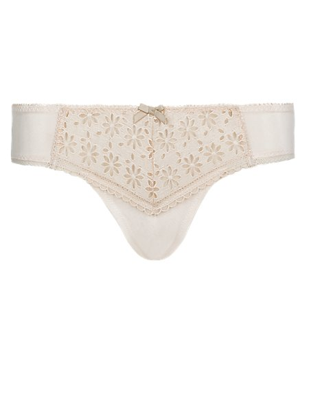 Daisy Embroidered Low Rise Brazilian Knickers