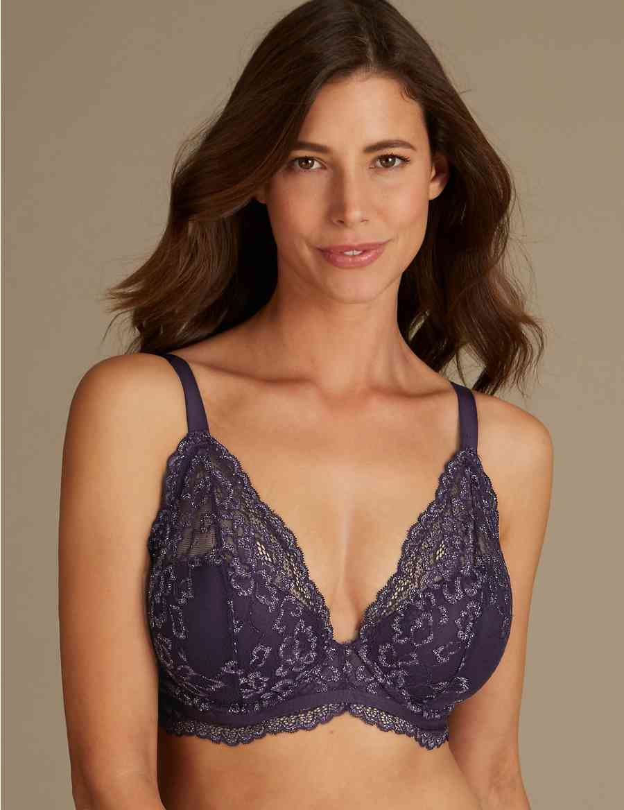 e607a7dcba773 Louisa Lace Sparkle Padded Plunge Bra DD-GG