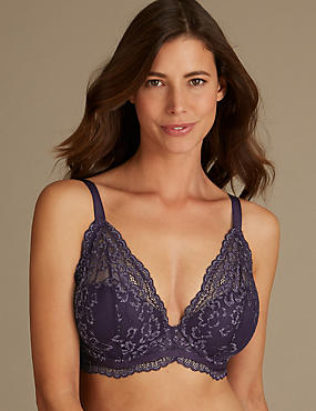 Louisa Lace Sparkle Padded Plunge Bra DD-GG