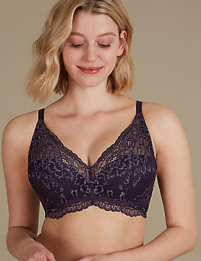 Louisa Lace Sparkle Padded Plunge Bra A-DD