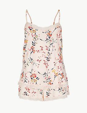 Lace Floral Print Camisole Set