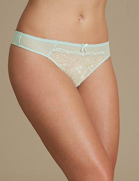2 Pack Embroidered Thong