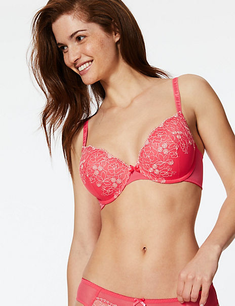 2 Pack Embroidered Padded Plunge Bras A-DD