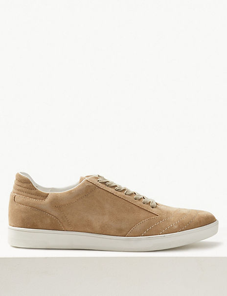 Suede Leather Lace-up Trainers