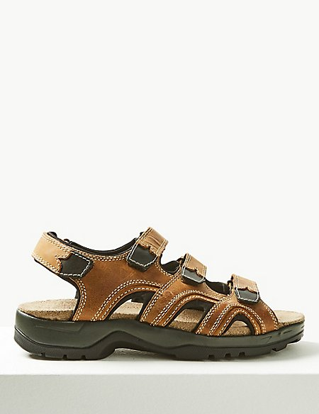 Leather 3 Strap Riptape Sandals