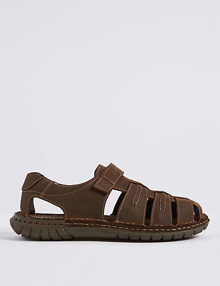 Enjoy Shopping Marks and Spencer Leather Riptape Sandals brown Clearance Cheapest Price 3xZhbQ