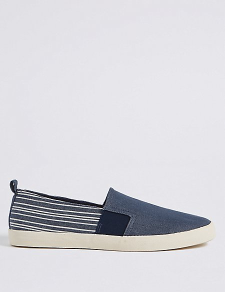 Striped Slip-on Pump Shoes