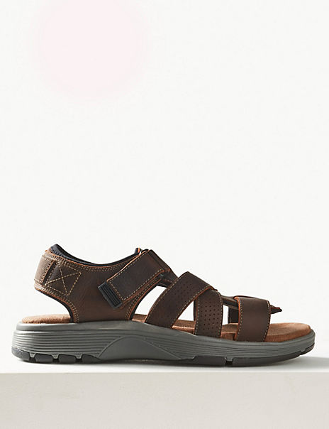 Leather Fisherman Open Toe Riptape Sandals