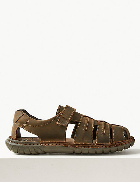 Leather Fisherman Riptape Sandals
