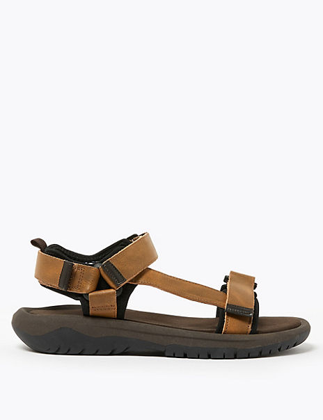 Coated Leather Rip Tape Sandals