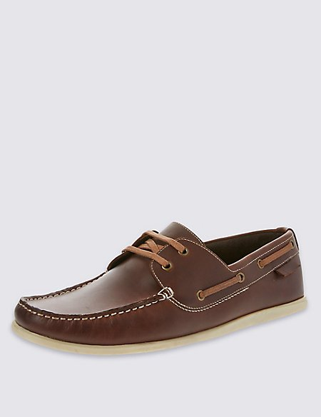 Leather Lace-up Square Toe Boat Shoes
