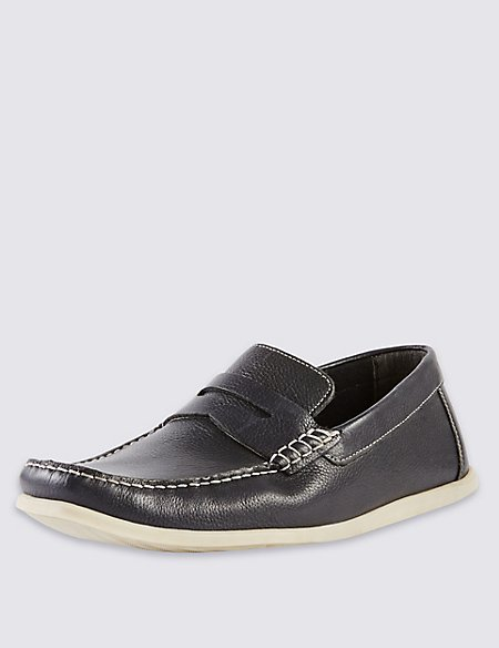 Freshfeet™ Leather Square Toe Saddle Boat Shoes with Silver Technology