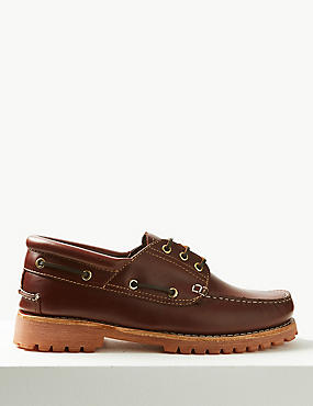 Leather Lace-up Boat Shoes