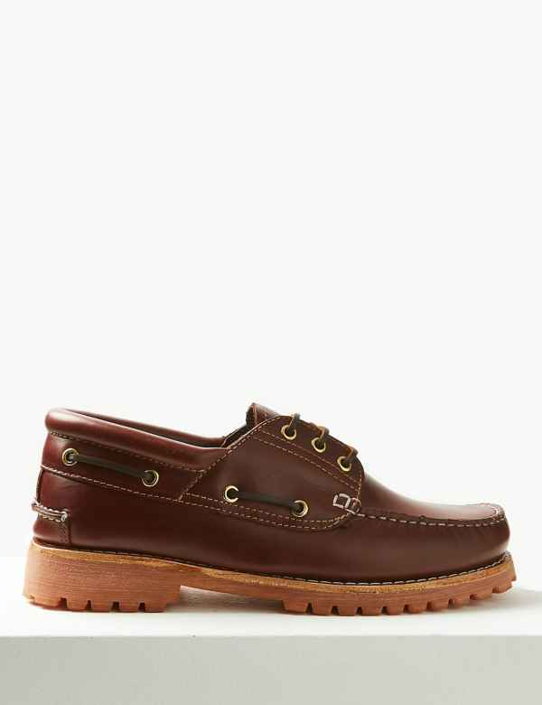 b16af3f030b Leather Lace-up Boat Shoes