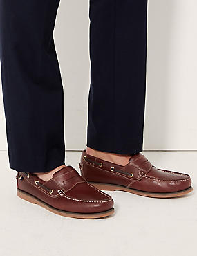 Leather Slip-on Boat Shoes with Freshfeet™