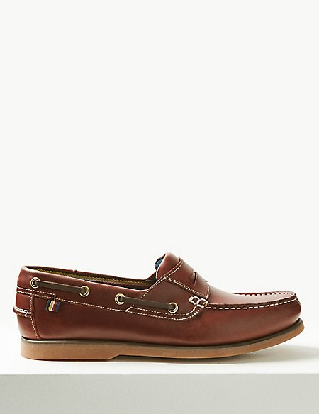 Marks and Spencer Leather Slip-on Boat Shoes with Freshfeet rich brown Cheap Extremely Buy Cheap Manchester Great Sale Buy Cheap Wide Range Of 0j4gdKcXeh