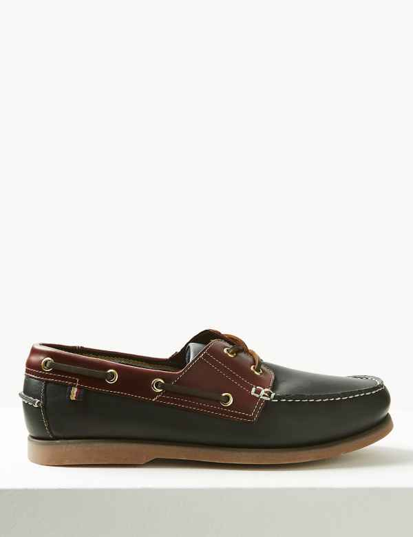 141c0ca367c Extra Wide Fit Leather Lace-up Boat Shoes