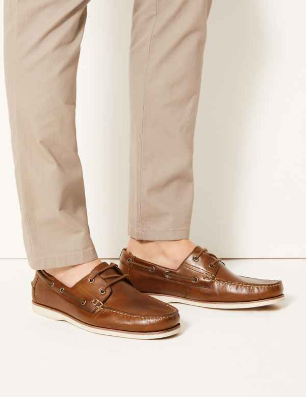 ef405a09d5 Leather Lace-up Boat Shoes
