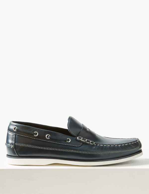 d564342f5672 Leather Slip-on Boat Shoes
