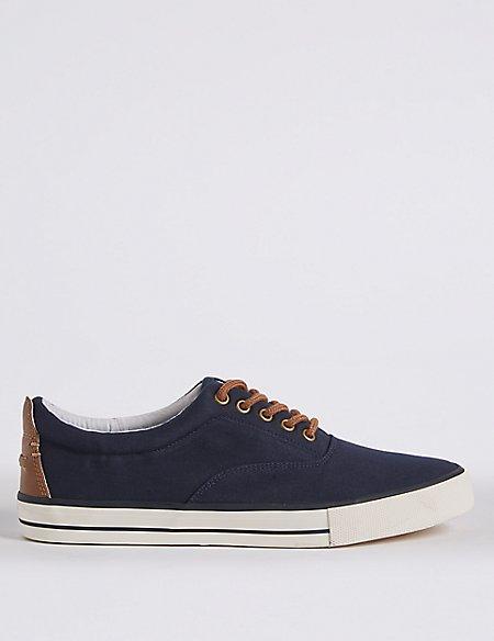 Canvas Lace-up Pump Shoes
