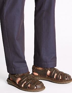 Extra Wide Leather Fisherman Riptape Sandals