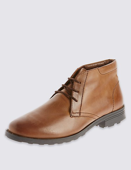 Leather Lace-up Heeled Chukka Boots