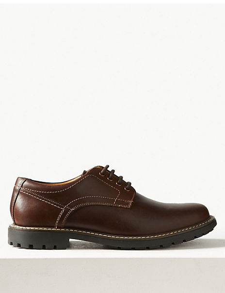 Wide Fit Leather Lace-up Derby Shoes
