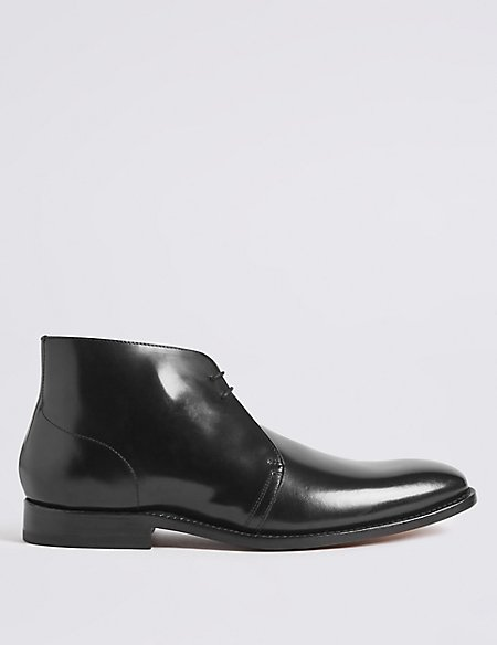 Leather Lace-up Chukka Boots