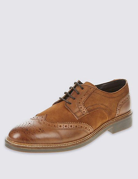 Leather Lace-up Mixed Brogue Shoes
