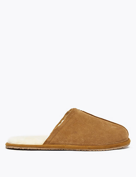 Suede Shearling Lined Mule Slippers